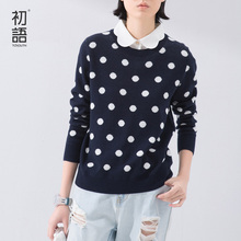 Toyouth 2016 New Spring Autumn Fake Two Piece Polka Dot Knitted Pullover Sweater Tops(China (Mainland))