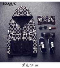 2015 New Arrivals Boy Autumn Letter Print Grid Men Hoodies Sweatshirt Pullover Hoodie Long-Sleeve Tide Men Hip-Hop Sports