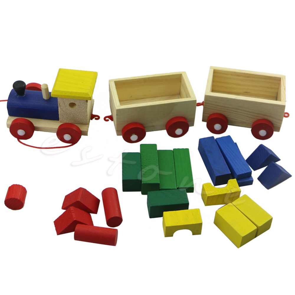 Fun Wooden Kids Baby Developmental Toys Toddler Train Truck Set Geometric Blocks(China (Mainland))