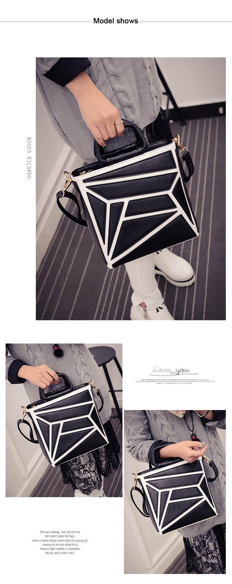 Classic Black&White Contrast Color Handbag Fashion PU Shoulder Bag Women Designer Chic Geometric Patchwork Stylish Hand Bag