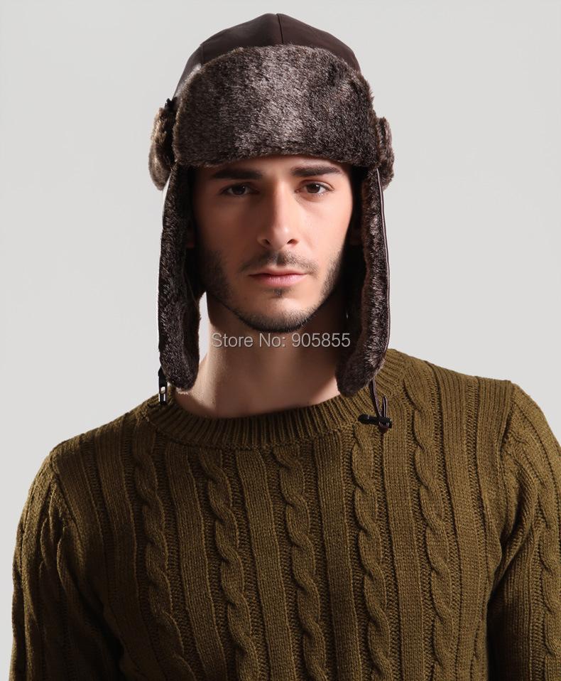 7460f631cd Wholesale-Windproof Trapper Hat HuntingPU Leather Fur cap Russian Winter  Hat Bomber Caps for Men