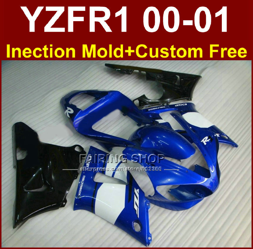 High grade EXUP bodyworks for YAMAHA blue black fairings YZFR1 2000 2001 yzf 1000 YZF R1 00 01 ABS plastic body parts+7gifts(China (Mainland))