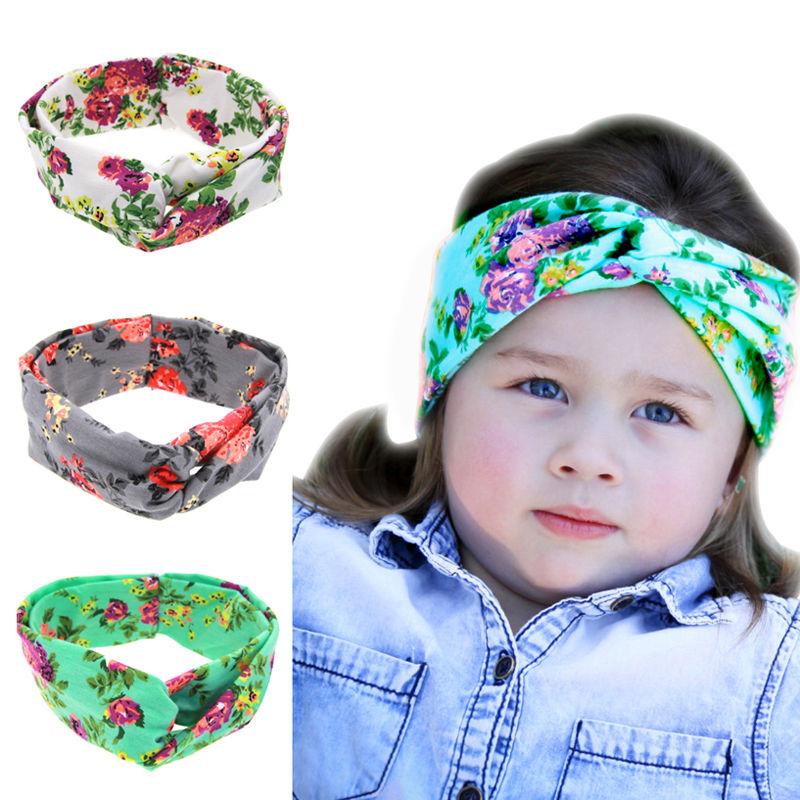 Cute Baby Headband Kids Girls Flower Print Headband Turban Twist Knot Hairband Headwrap for Baby Girl Children Hair Accessories(China (Mainland))