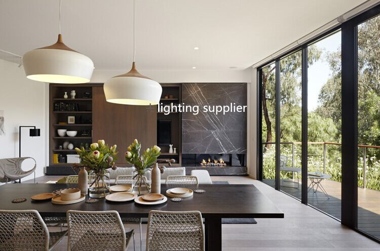 Modern pendant light wood and aluminum lamp black white for Dining room 3 pendant lights