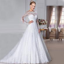 Glamorous Weg Von der Schulter Spitze Brautkleider 2015 langen Ärmeln vestidos de novia robe de mariage Durchsichtig brautkleider(China (Mainland))