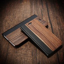 For iPhone 7 6 6s Plus Real Wooden Flip Case For iPhone 6 6s 7 Natural Wood + PU Leather Stand Cover For iPhone 6 6s Plus Fundas(China (Mainland))