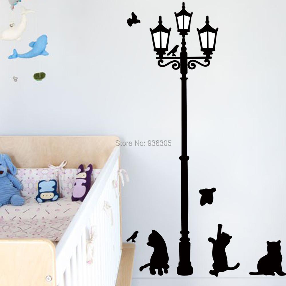 Wall Lamp For Toddler Room : 80x80cm DIY Sticker Cat Bird Lamp Wall Sticker stickers for Kids room Poster adesivo de parede ...