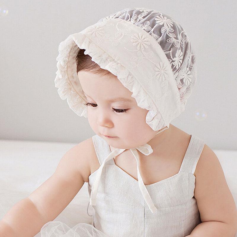 Nordic Vintage Style Baby Girl Lace Beanie Hat Infant Princess Hat Baby Summer Sun Bonnet Cap Dandelion Flower SW123(China (Mainland))