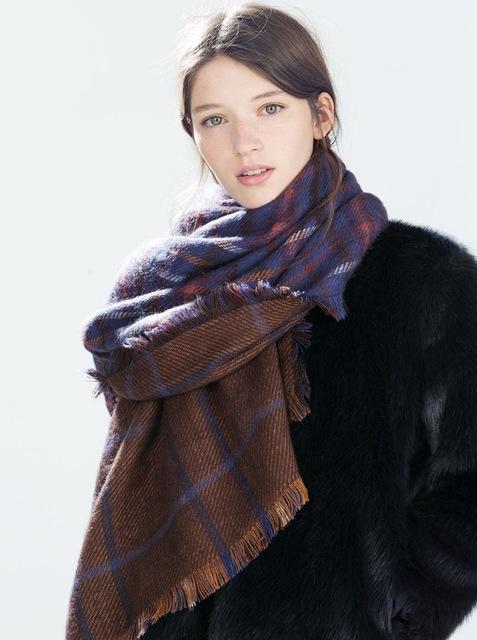 180 см * 90 см новинка 2016 Za мода двухсторонняя плед толстые теплая зима длинный шарф большой бренд платки