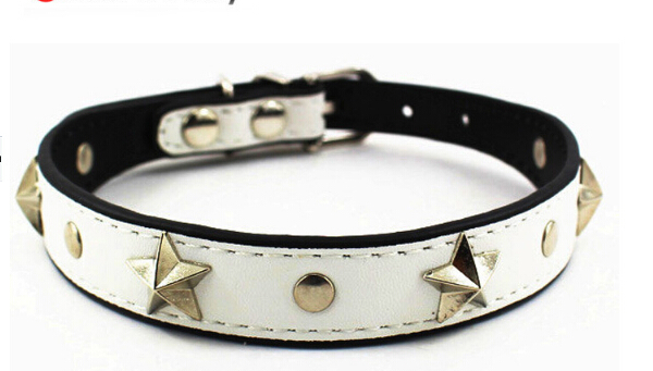 Top Quality pet dog fashion PU leather collar doggy punk style pentagram necklace doggy collars leash pets supplies 10 pcs/lot(China (Mainland))