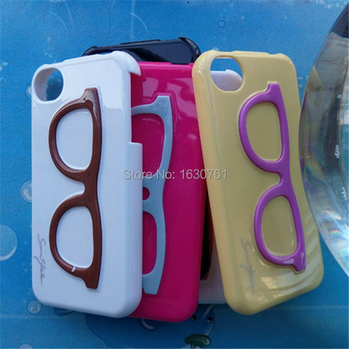 10Pcs/Lot Mix Color New Design Glasses Plastic For iphone 4 4S High Quality Protector Cell Phone Cover Case Free Shipping(China (Mainland))
