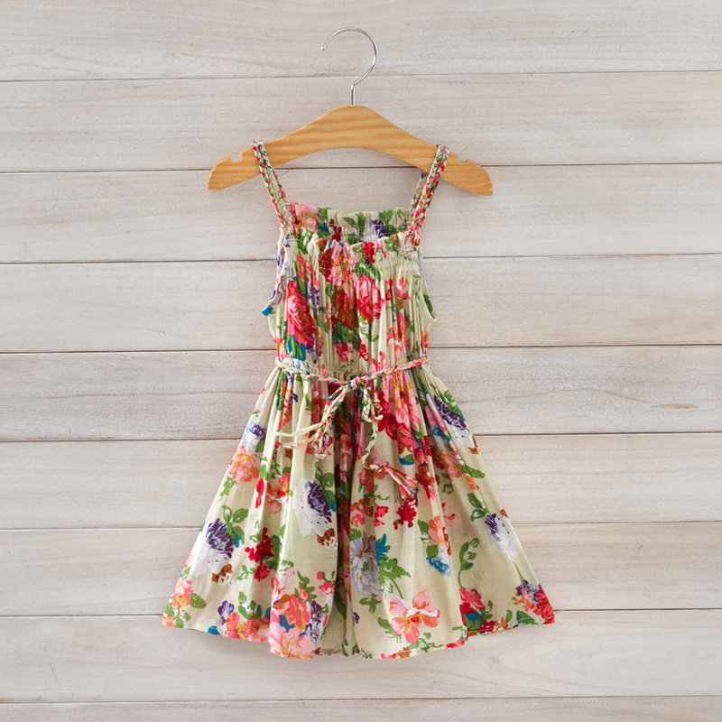 summer dress girls 2015 new european style printing flower beach girl dresses for party brand Children's clothing wholesale(China (Mainland))