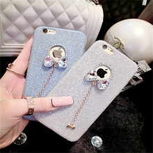 Flash powder for iPhone6 mobile phone shell 5S 6plus mobile phone shell silicone Rhinestone Butterfly Knot free shipping