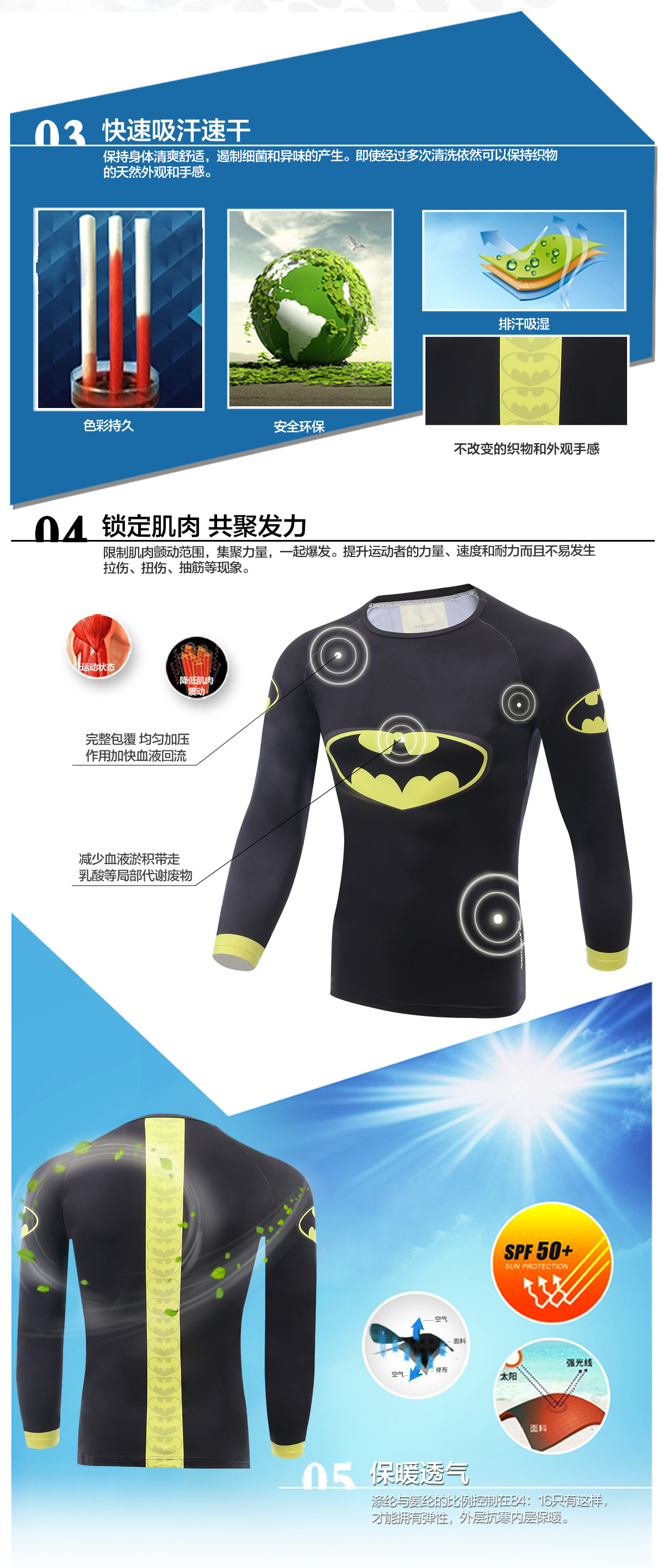TRUYOU Men Outdoor Bat Cycling Shirt Long Sleeve Clothing Fishing Hiking T-Shirt Running Bicycle Jersey Long Clothes