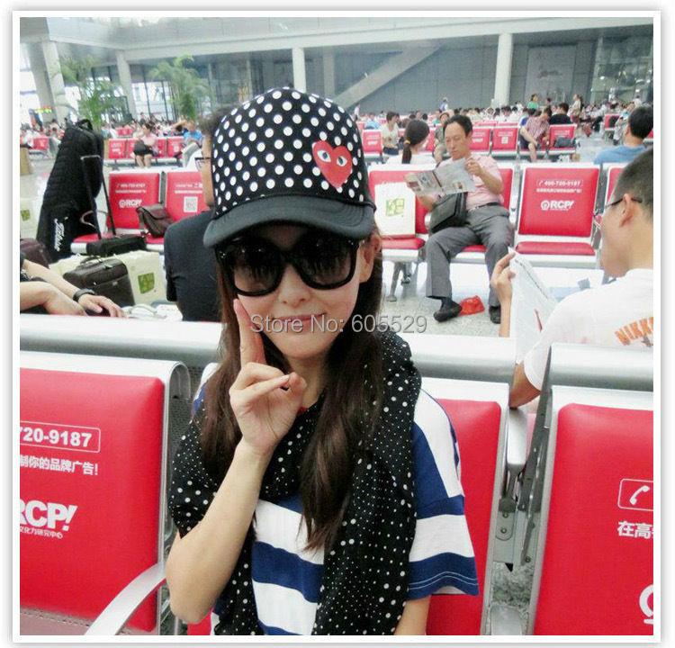 Red hearts dot grid high top Hip-hop cap sport baseball cap universal season 3color 1pcs free shipping(China (Mainland))