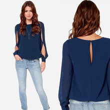 2015 New Casual Women Blouses Summer Hollow Out Sleeve Women Tops Hole Back Chiffon Blouse Plus Size ZLY215(China (Mainland))