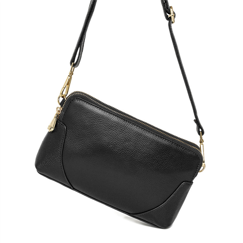 Genuine leather women's small messenger bag solid color flap bag first layer cowhide leather high quality()