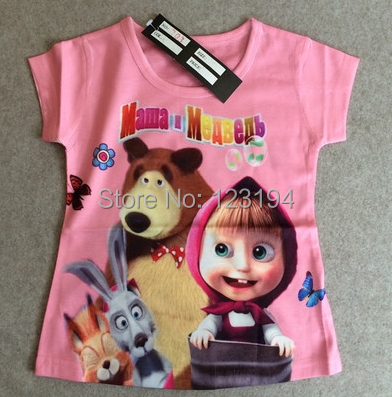 2015 New arrivals Brand New 100%Cotton Kids Clothes Masha and Bear tshirts Clothing Summer Baby Girls Fashion T-shirts Retail<br><br>Aliexpress