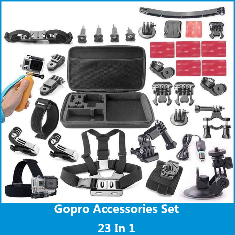 Gopro Accessories Set 23-in-1 Chest Strap Head Strap Wrist Strap For Gopro 4/3+/3/2 For Swimming Rowing Any Other Outdoor Sports<br><br>Aliexpress