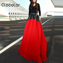 Buy Clocolor PU Leather Chiffon Patchwork Maxi Skirt Casual Empire Long Skirts Women Pleated Summer High Waisted Maxi Skirt Floor for $17.37 in AliExpress store