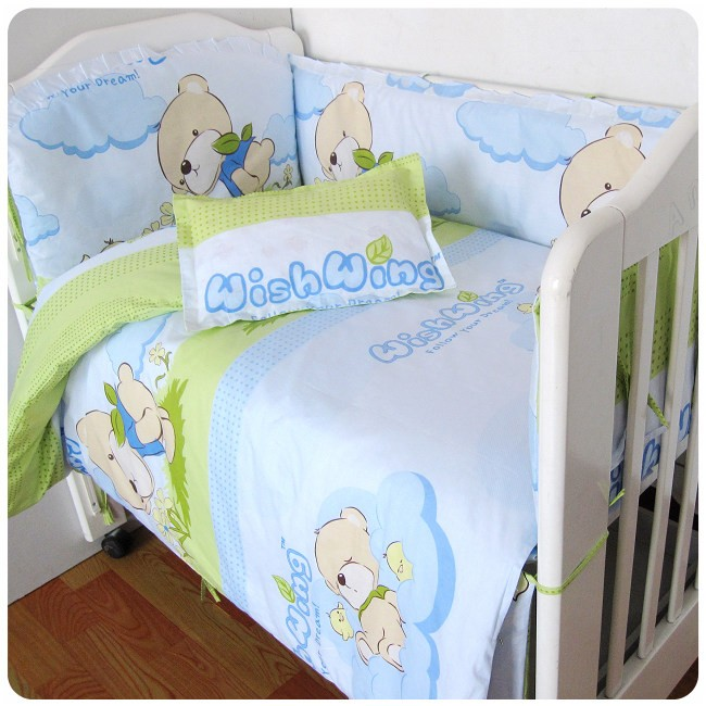 discount 6 7pcs baby bedding set 100 cotton curtain baby cot sets 120 60 120 70cm in bedding. Black Bedroom Furniture Sets. Home Design Ideas