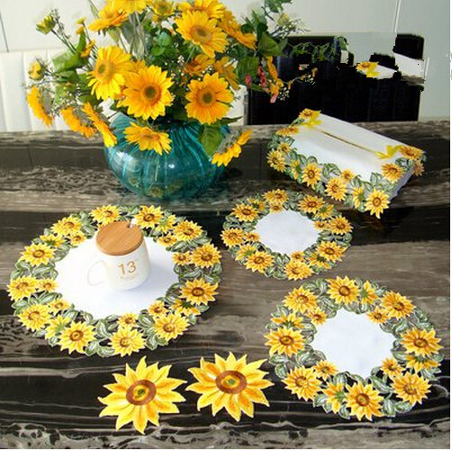Mat mat cloth Embroidery tablecloth traycloth simple pastoral hollow table napkin golden sunflower cover towels(China (Mainland))