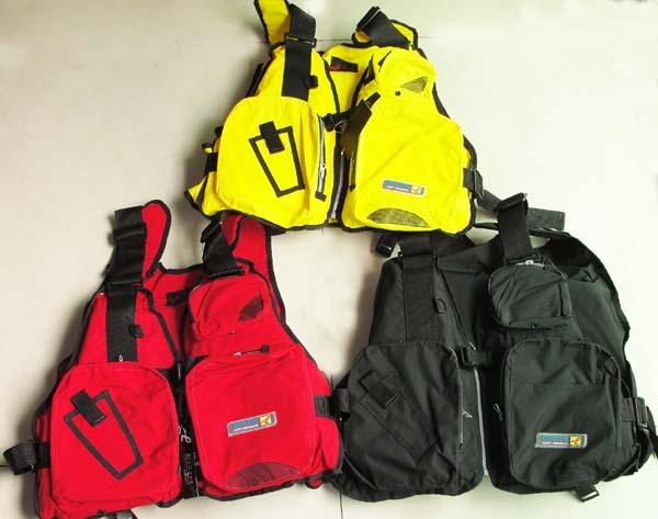 2012 Life jacket boat snorkel vest fishing multi pocket vest life vest belt upstream, adrift, water ski red, yellow(China (Mainland))