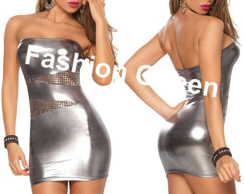 Plus Size XXXL Free Shipping 2016 Performance Costume Ladies Strapless Mini Dress Fashion Leather Dress Sexy Leather Clubwear(China (Mainland))