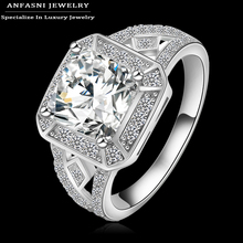 2015 Square Ring Real 18K Gold /Platinum Plated Clear AAA Cubic Zirconia Inlayed Ladies Ring CRI0016(China (Mainland))