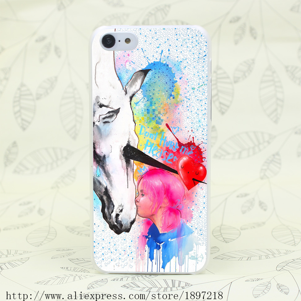 4750T Unicorn Hurt Hard Transparent Cover Case for iphone 4 4s 5 5s 5C SE 6 6s Clear Cell Phone Cases(China (Mainland))