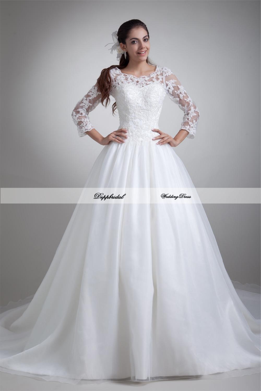 Buy wholesale satin 3 4 sleeve a line 3 4 sleeve wedding dress a line