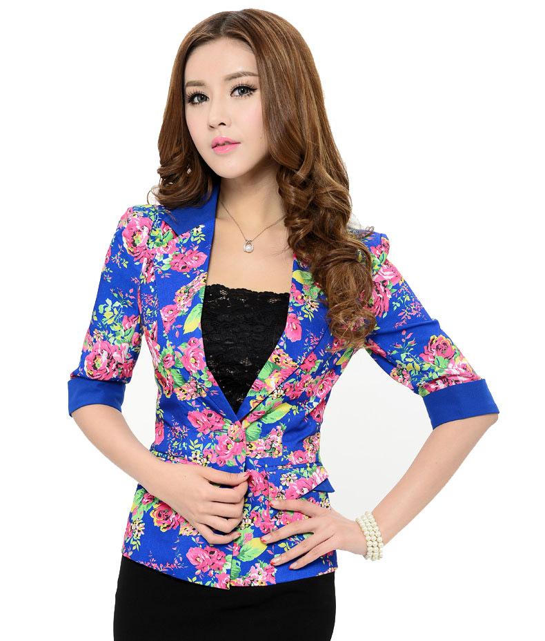 Марка весна осень женская топ пиджак женщин живописи цветок куртки женщина пиджаки пальто с длинным рукавом костюмы одежда
