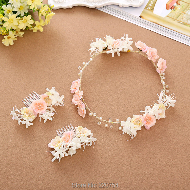 2016 New Women Rose Floral Flower Garland Crown Headband Hair Band Bridal Festival Holiday Girls Wreath(China (Mainland))