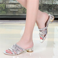 Women Summer Shoes Rhinestone Sandals Slippers Thick Heels Summer Leather Slippers Silver Sandale Femme Talon