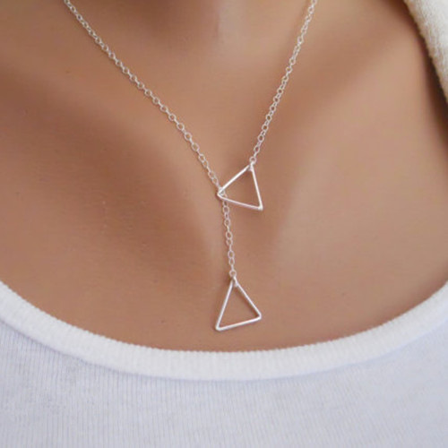 2015 Fashion Necklace For Women Gold Rhodium Plated Triangle Lariat Necklaces Lady Accessories Collier Feminino