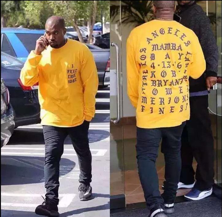 2016 Yeezy Kanye West I Feel Like Kobe Lakers long sleeve commemorate hoodie Men's Hoodies(China (Mainland))