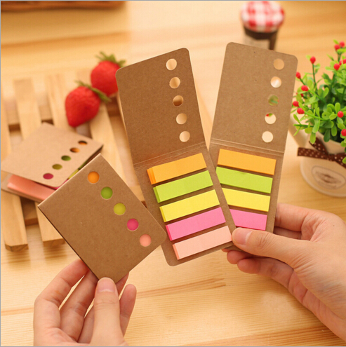 8pcs/lot Candy color Kraft paper memo pad Diary sticker post it bookmarker sticky notes Office accessories School supplies(China (Mainland))