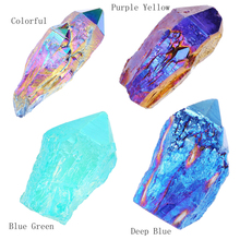 "Buy JOVIVI 1 pc Natural Titanium Coated Aura Raw Crystal Quartz Single Point Cluster Geode Druzy Gemstone Specimen 1.97"" 3.15"" for $10.59 in AliExpress store"