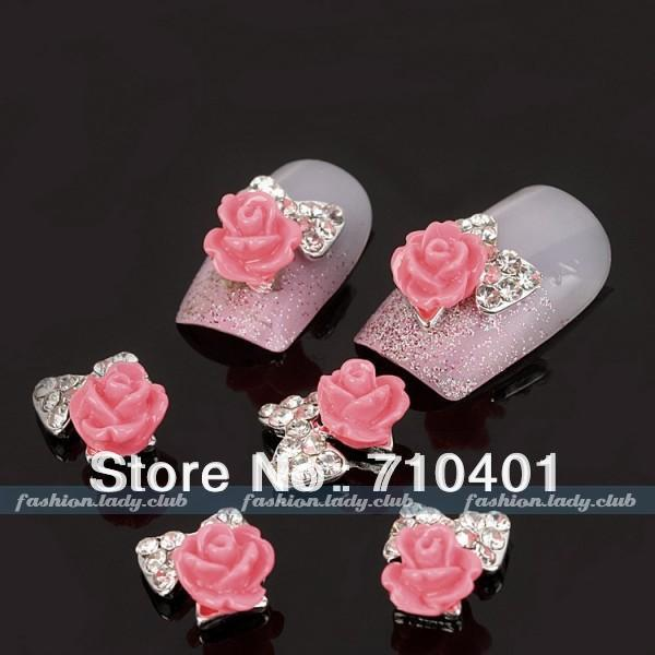 New Free Shipping Wholesale/ Nail Supplier,50pcs 3D Alloy Bowtie Red Rose Glitter Rhinestone Manicure Tool Nail Design/ Nail Art(China (Mainland))
