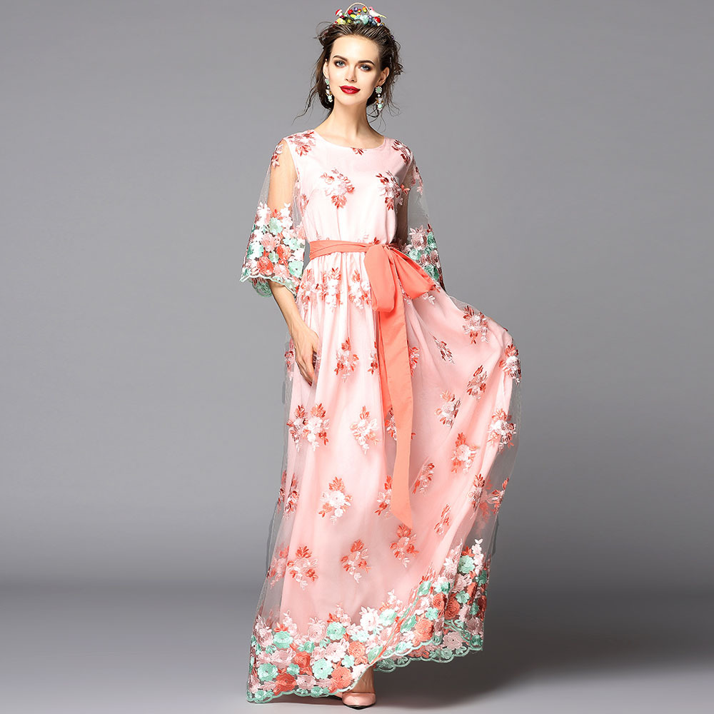 2016 New Fashion Heavy Embroidered Dress High Qualiry Long Maxi DressОдежда и ак�е��уары<br><br><br>Aliexpress