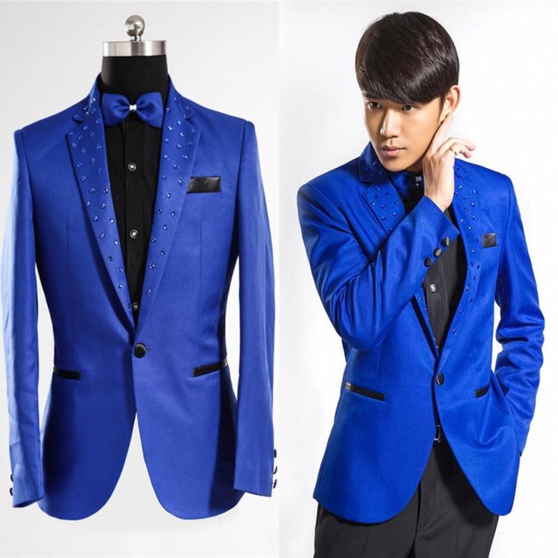 Royal Blue Tuxedo Men Fashion 2016 Brand Clothing Suit Jacket Men Stage Blazer Costumes Men Suit