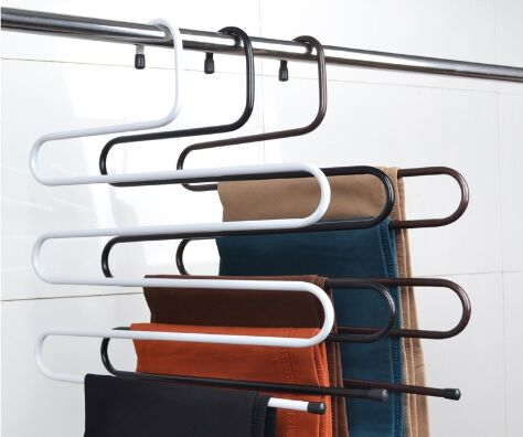 Hanger Clothes Hanger Rack Pants Hanger 5 Layer S Shape Trousers Holders Towels Clothes Apparel Hangers Space Saving(China (Mainland))
