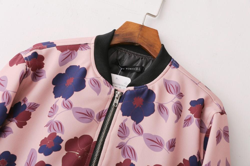 2017 New Arrival Spring Autumn Fashion style Pink Color Print Flower Femme Manche Longue Bomber Satin Jacket Women Coat C117