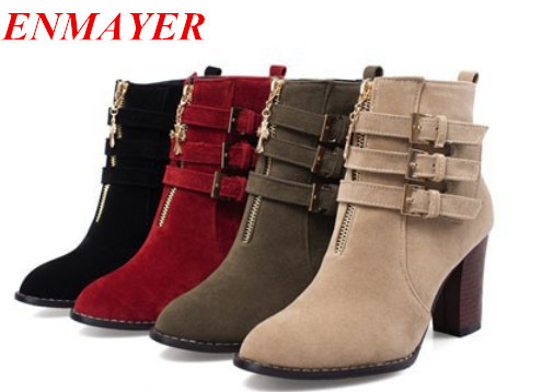 ENMAYER Big Size 34-43 New Designer Ankle Boots, High heels Platform Womens Shoes, Sexy Buckle Gladiator Heel Boots For women<br><br>Aliexpress