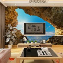Custom wall murals papel de parede 3d moderno seaside cave landscape wallpaper for living room bedroom tv sofa background decor(China (Mainland))
