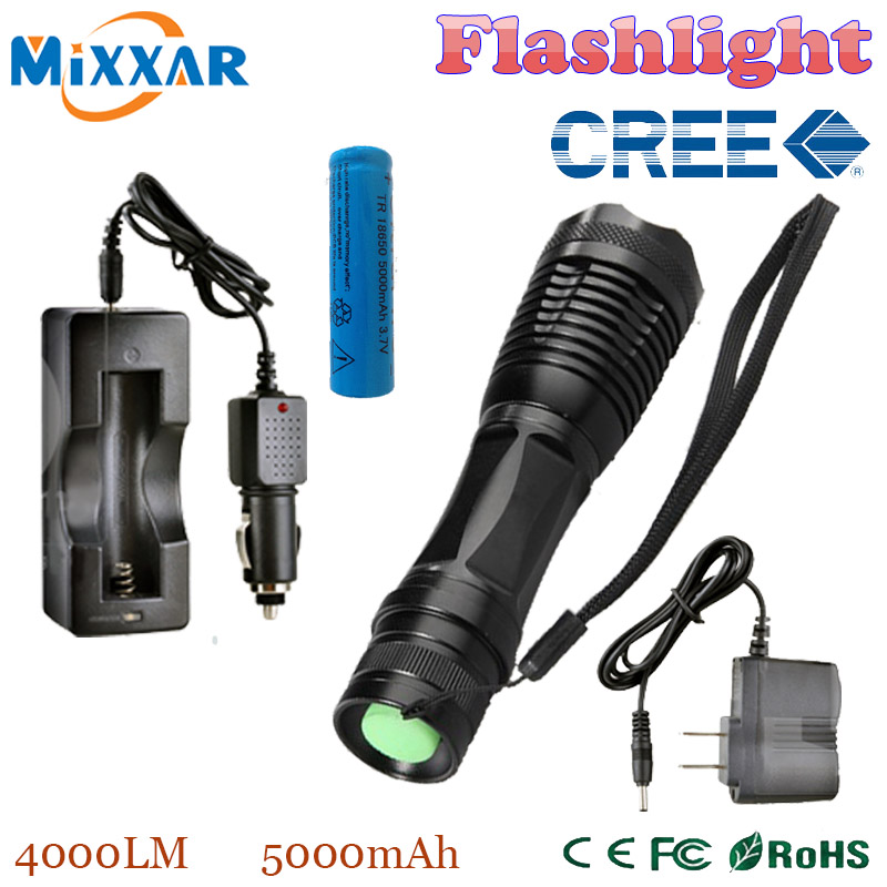 RUzk5 LED flashlight 4000 LM XM-L T6 Torch Zoomable led flashlight with AC charger + battery + car charger(China (Mainland))
