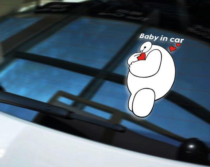 Car Styling Cartoon BIG HERO 6 BABY IN CAR Baymax Car Sticker Fashion Car Vinyl Tape Sticker Decals Reflective(China (Mainland))