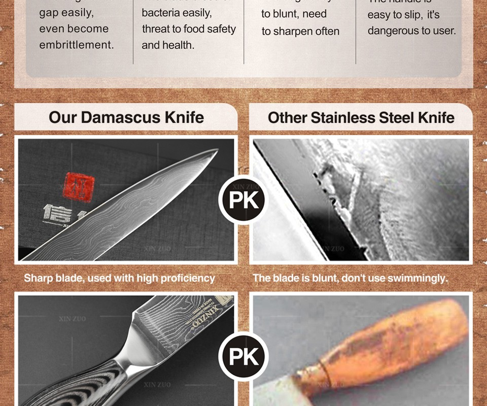Buy 5 pcs chef knives set 73 layers Japanese VG10 Damascus steel kitchen knife set cleaver chef utility wood handle free shipping cheap