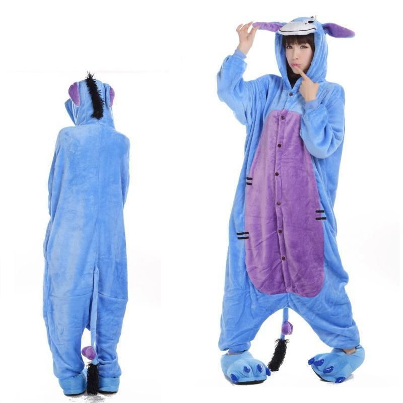 Fashion Christmas Halloween Women Men Pajamas All in One Pyjama Animal suits Adult Winter Flannel Eeyore Donkey Cartoon Onesies(China (Mainland))
