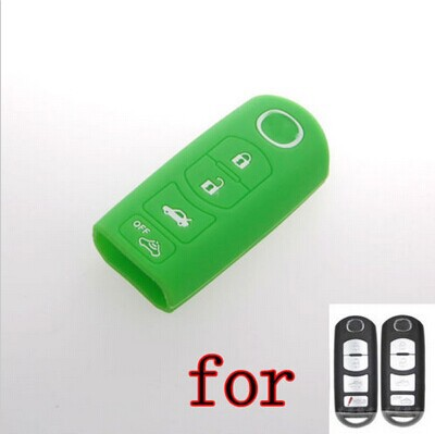 Green Silicone Case Shell Cover Fob bag holder fit for MAZDA CX-7 CX-9 MX-5 Miata 4 Buttons Smart Key(China (Mainland))
